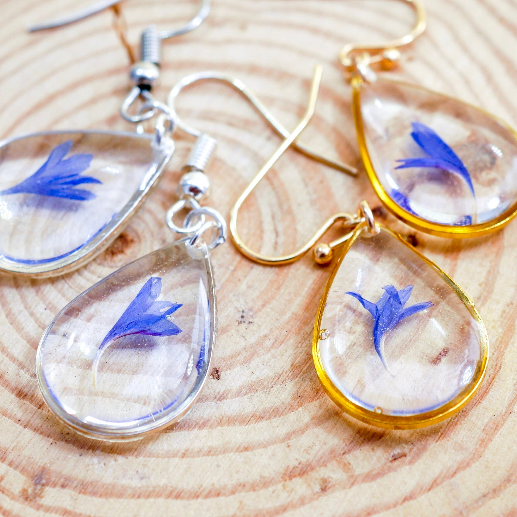 Tiny Cornflower teardrop Dangles