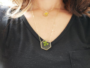 4 Leaf Clover hexagon necklace