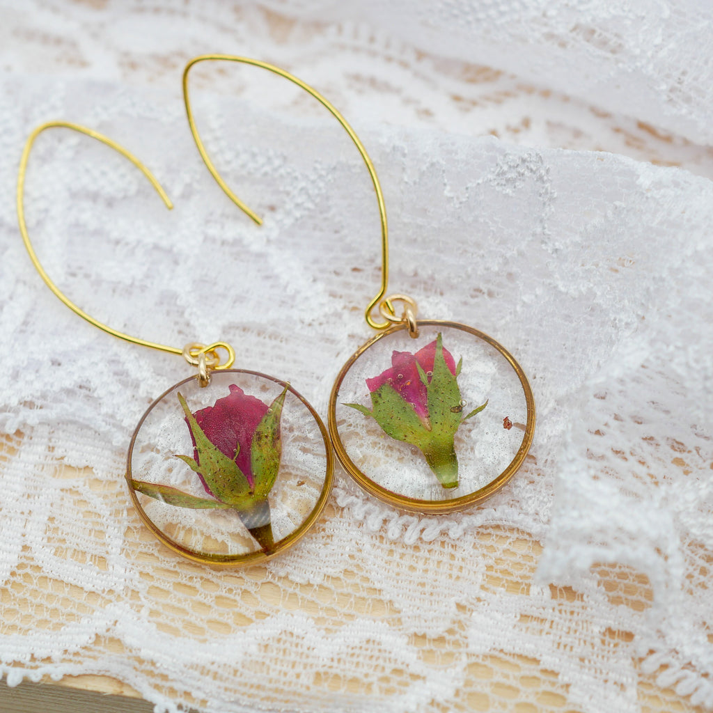 Dainty Rose Drop Earrings