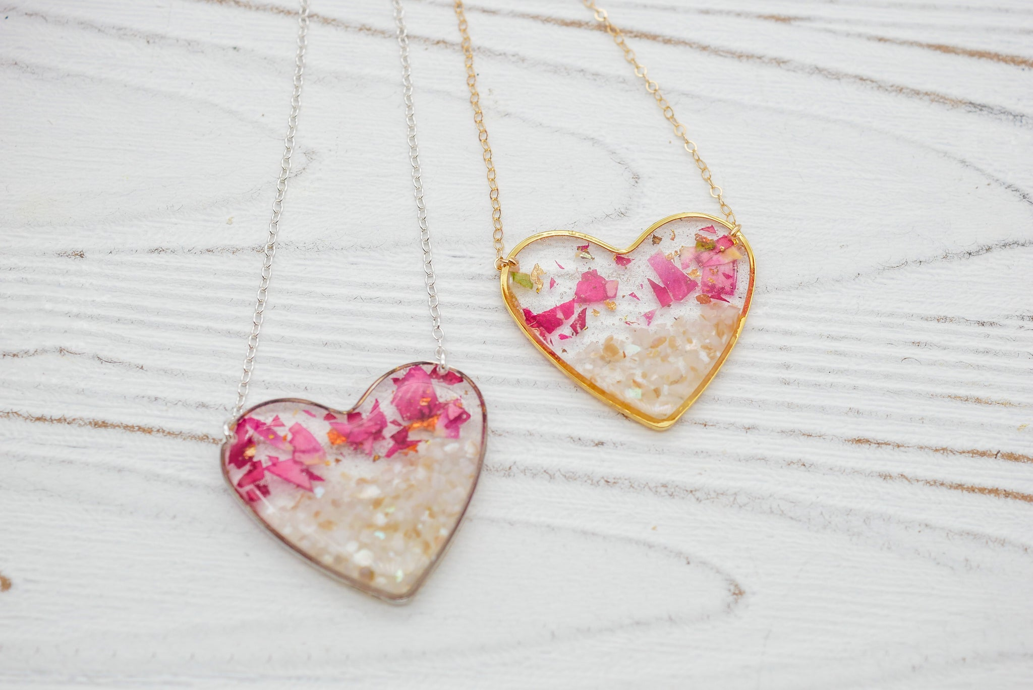 Eros necklace, Real Rose Petal and Fresh water pearl Heart necklace