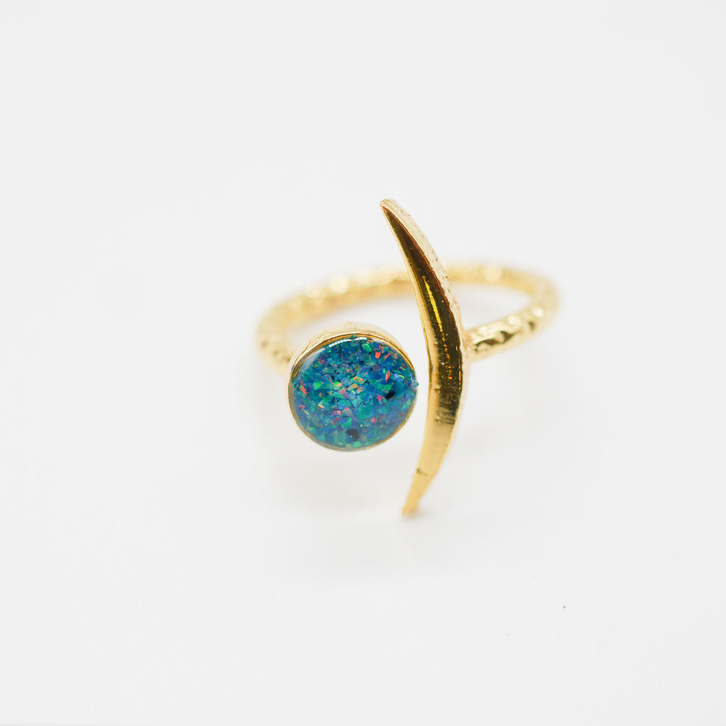 Blue and Gold opal crescent  moon ring