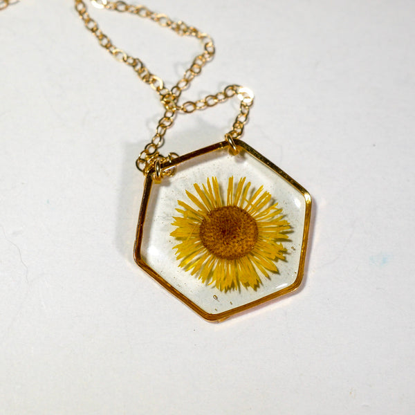 Yellow Fleabane hexagon necklace