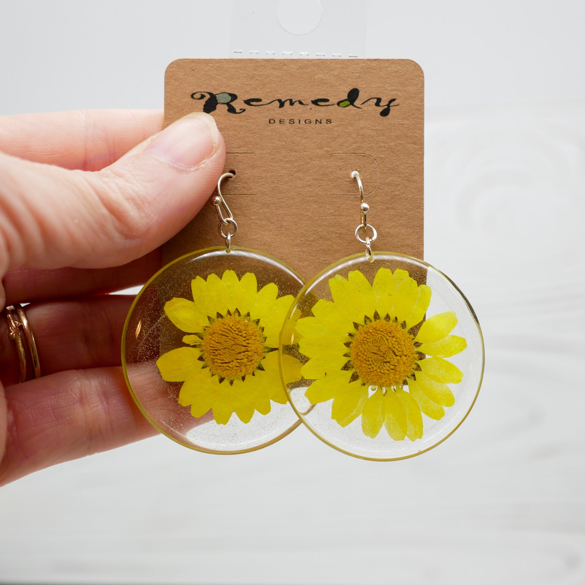 Large yellow daisy circle earrings
