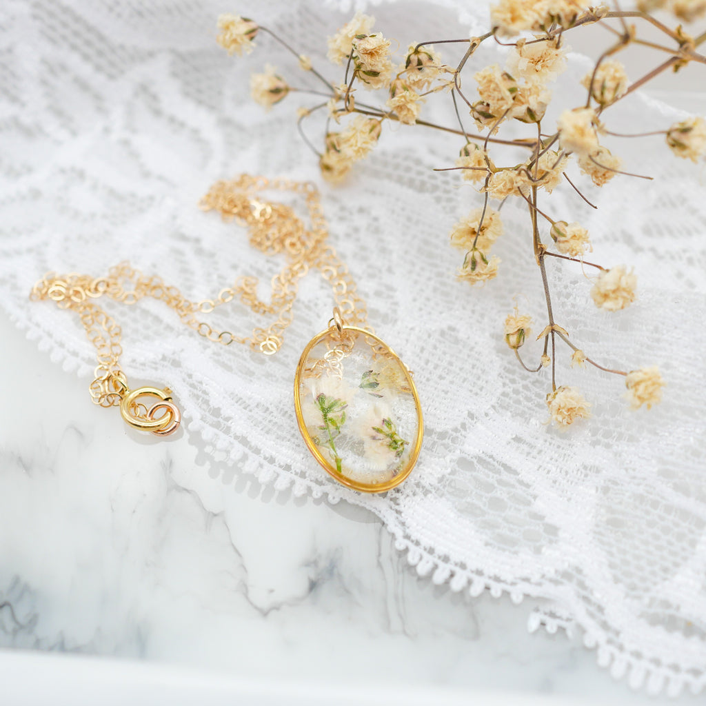 Tiny Oval baby's breath Necklace
