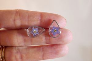 Tiny Forget me not Teardrop Stud Earrings