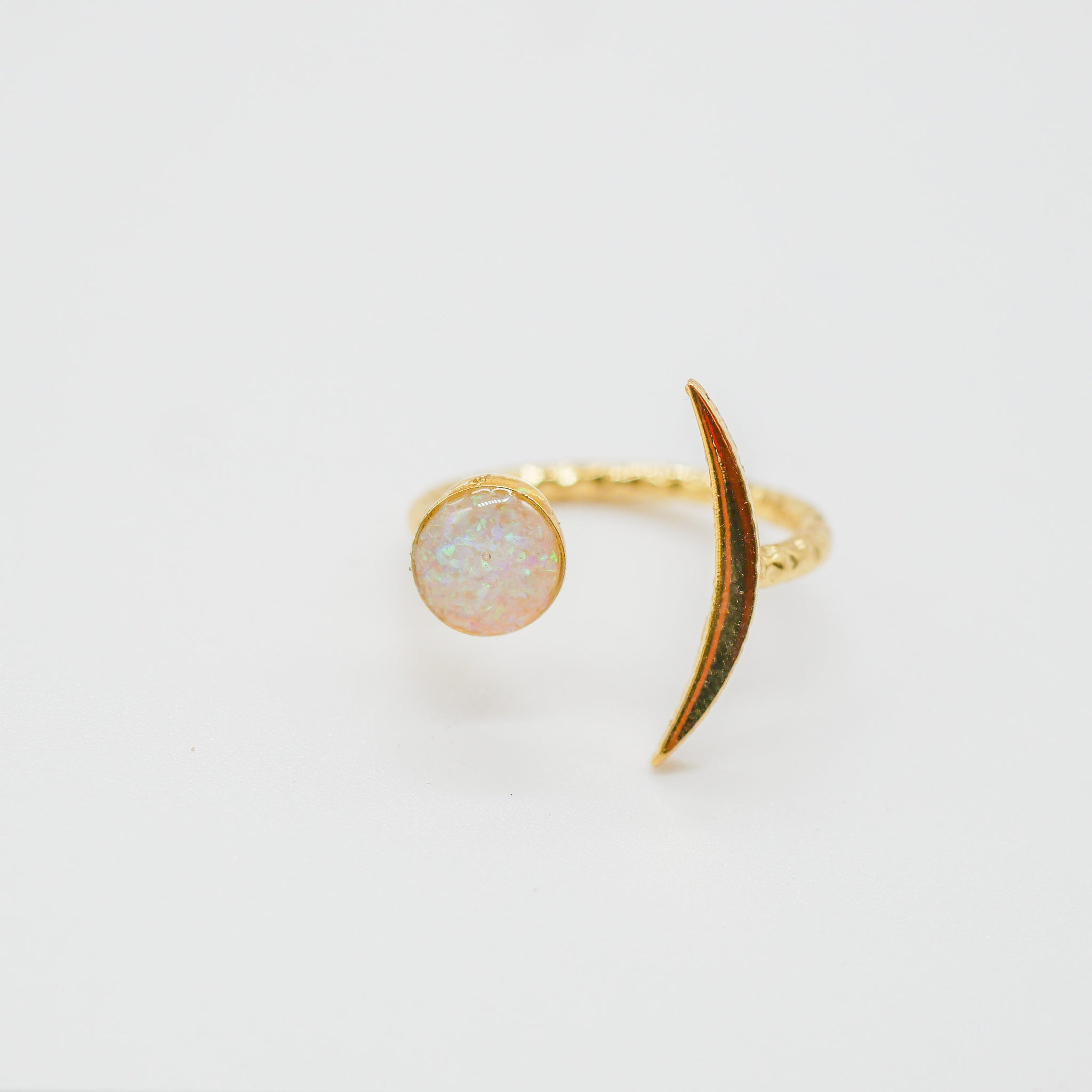 Gold opal crescent  moon ring