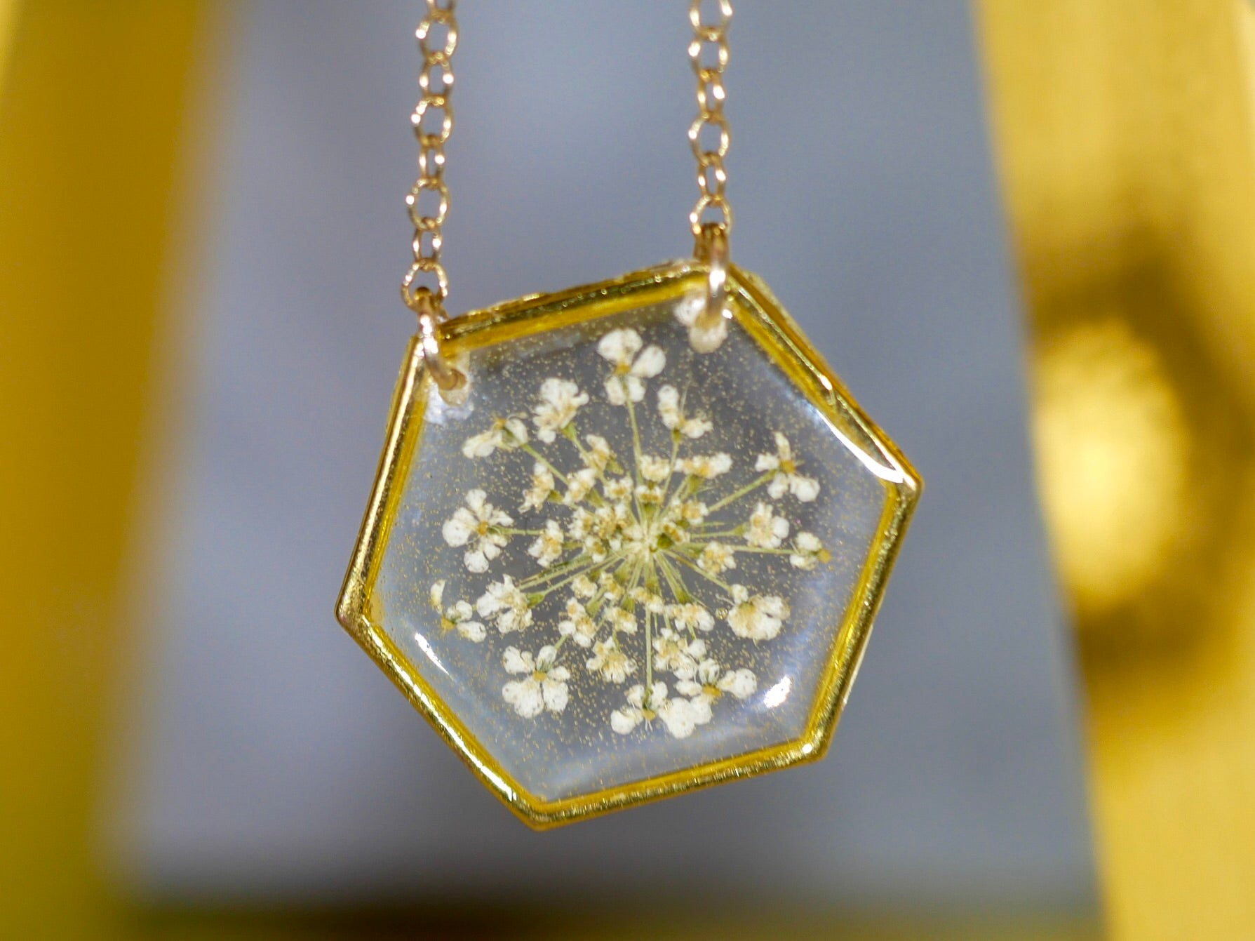 White Queen Annes lace Hexagon Necklace
