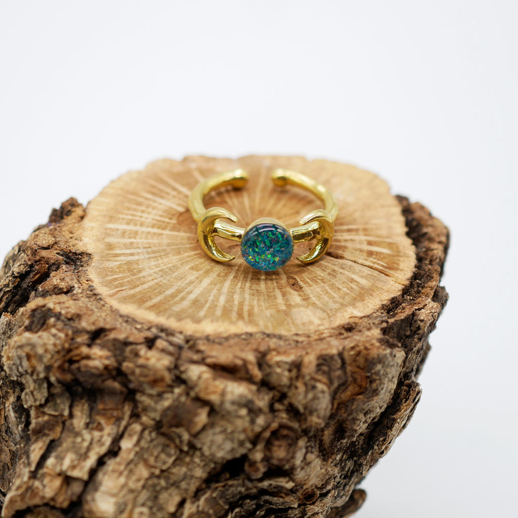 Crushed blue opal gold double moon ring