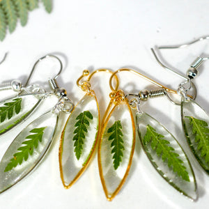 Tiny Fern Ellipse Earrings