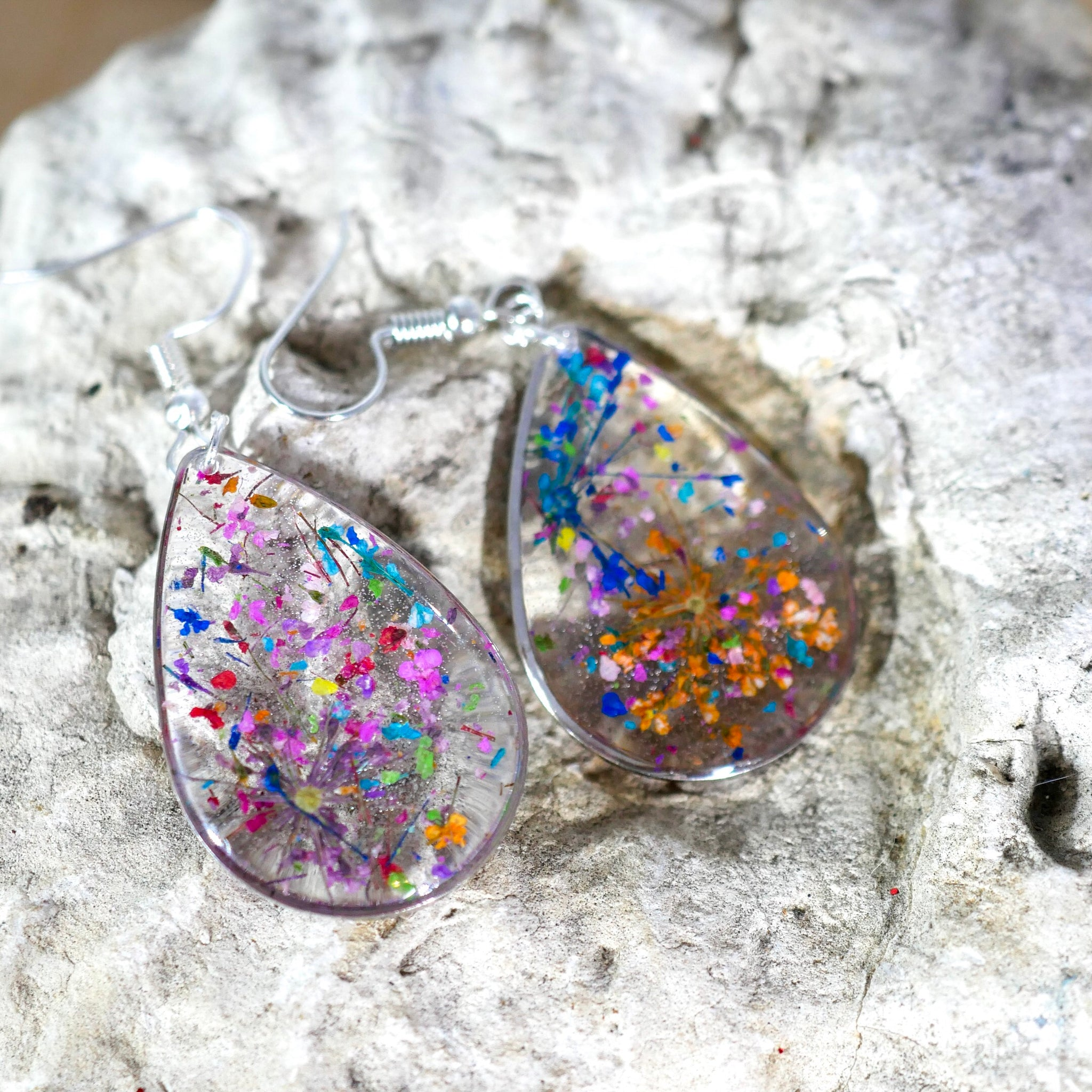 Large Flower Confetti Statement Earrings