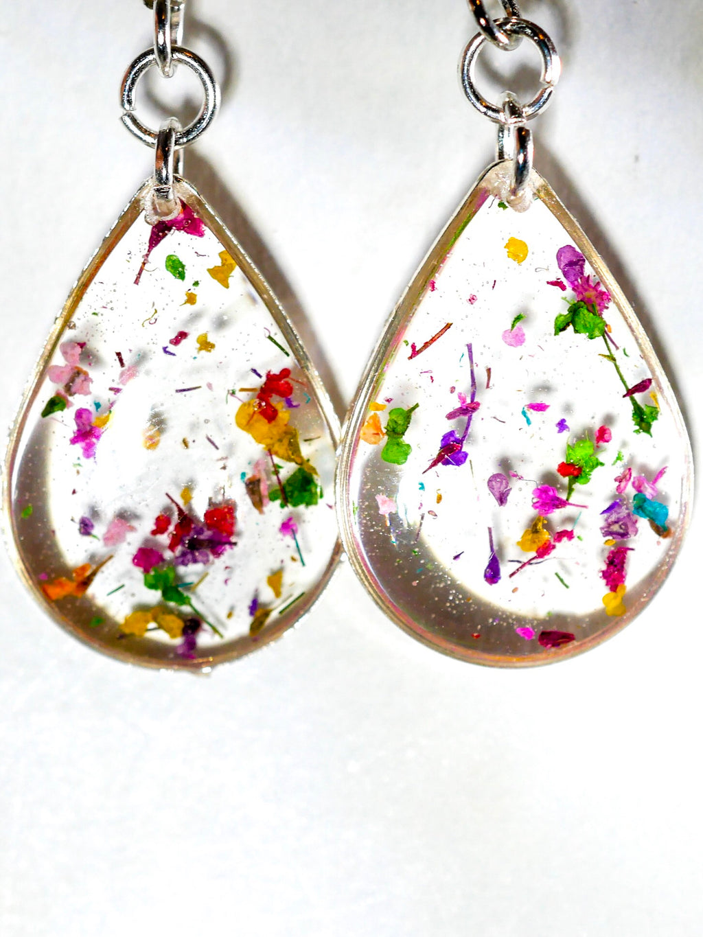 Tiny Flower confetti teardrop earrings