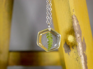 Tiny fern hexagon necklace