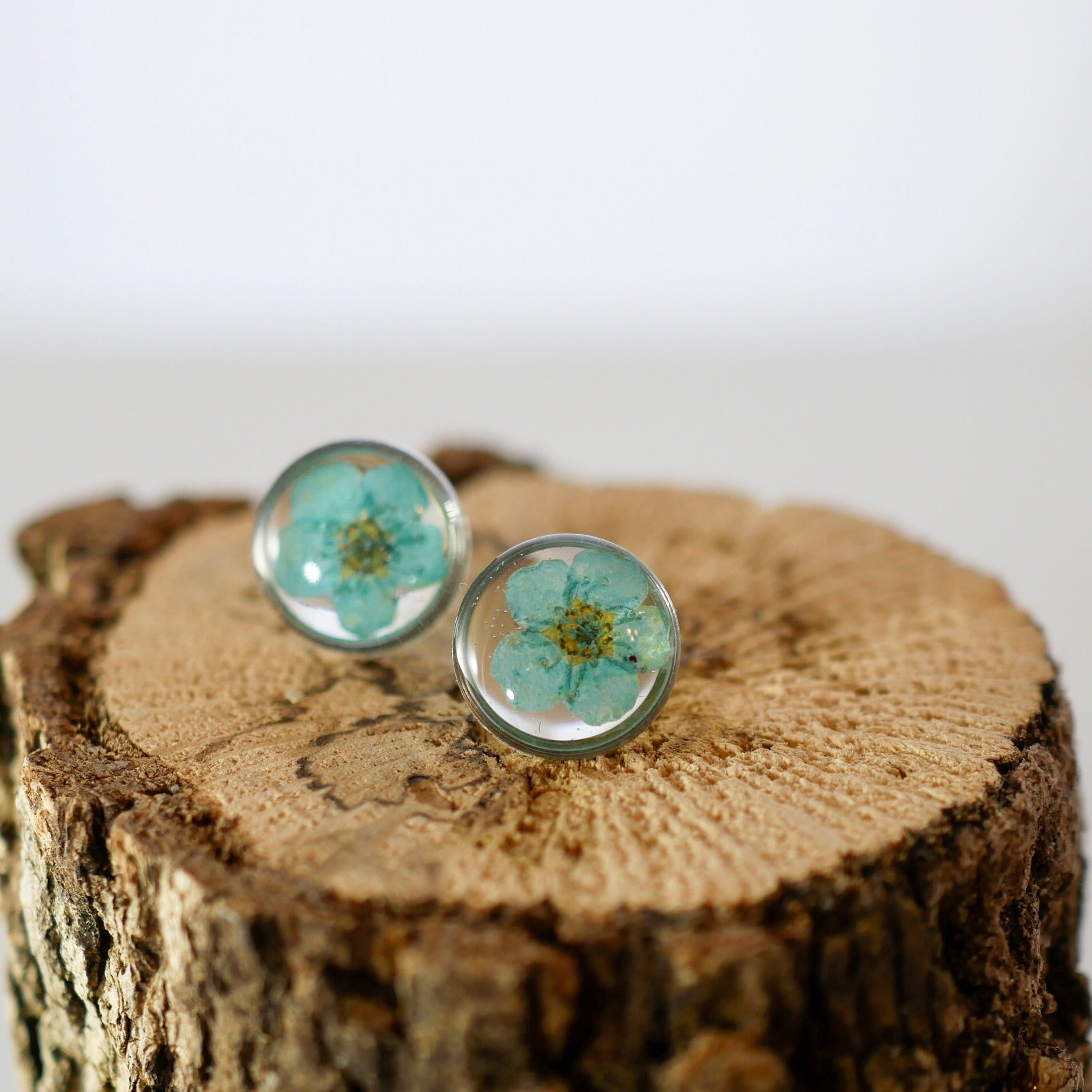 Tiny Blue Pressed Flower Studs