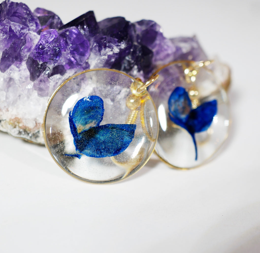 Texas Bluebonnet Petal Dangle Earrings