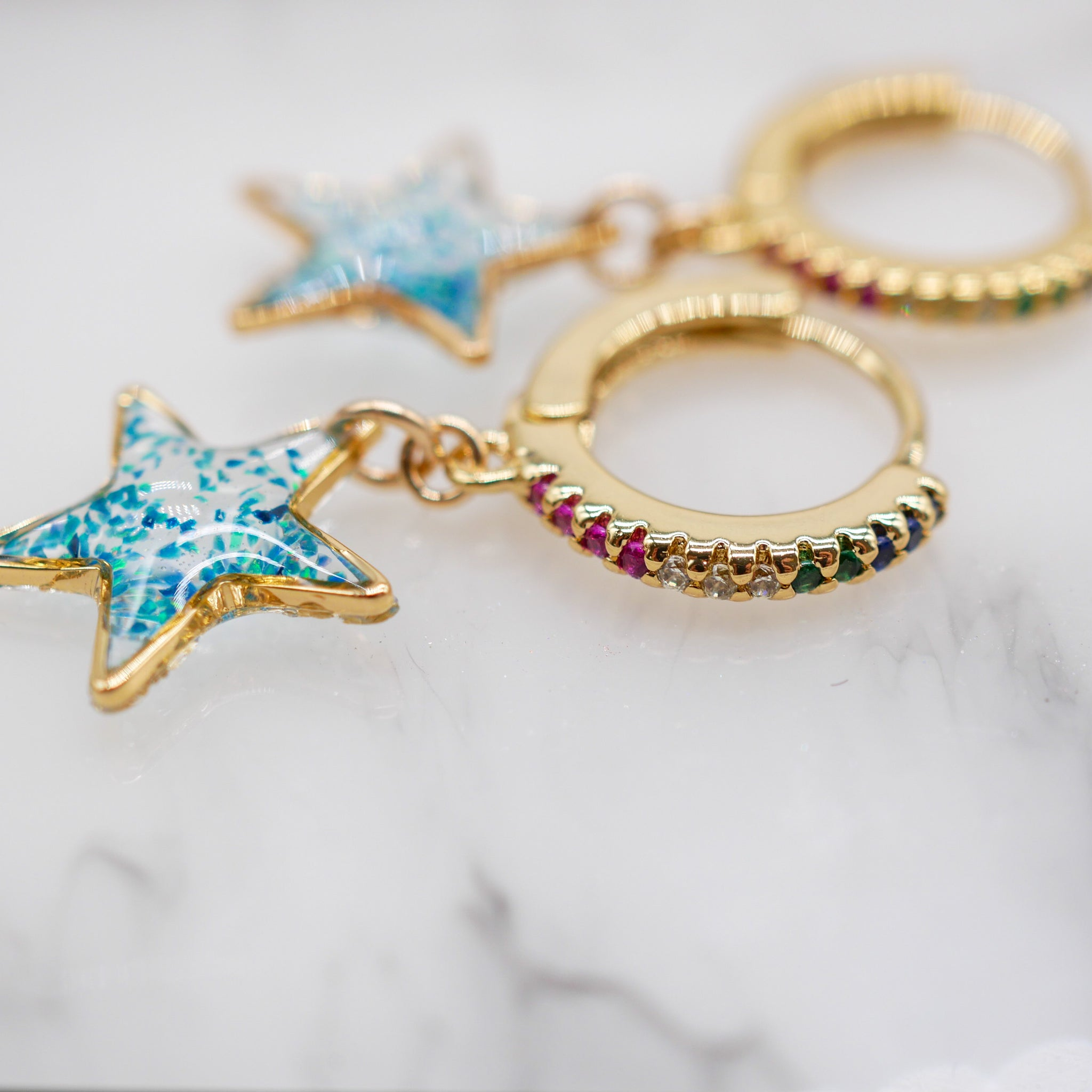 Blue opal star huggy hoops