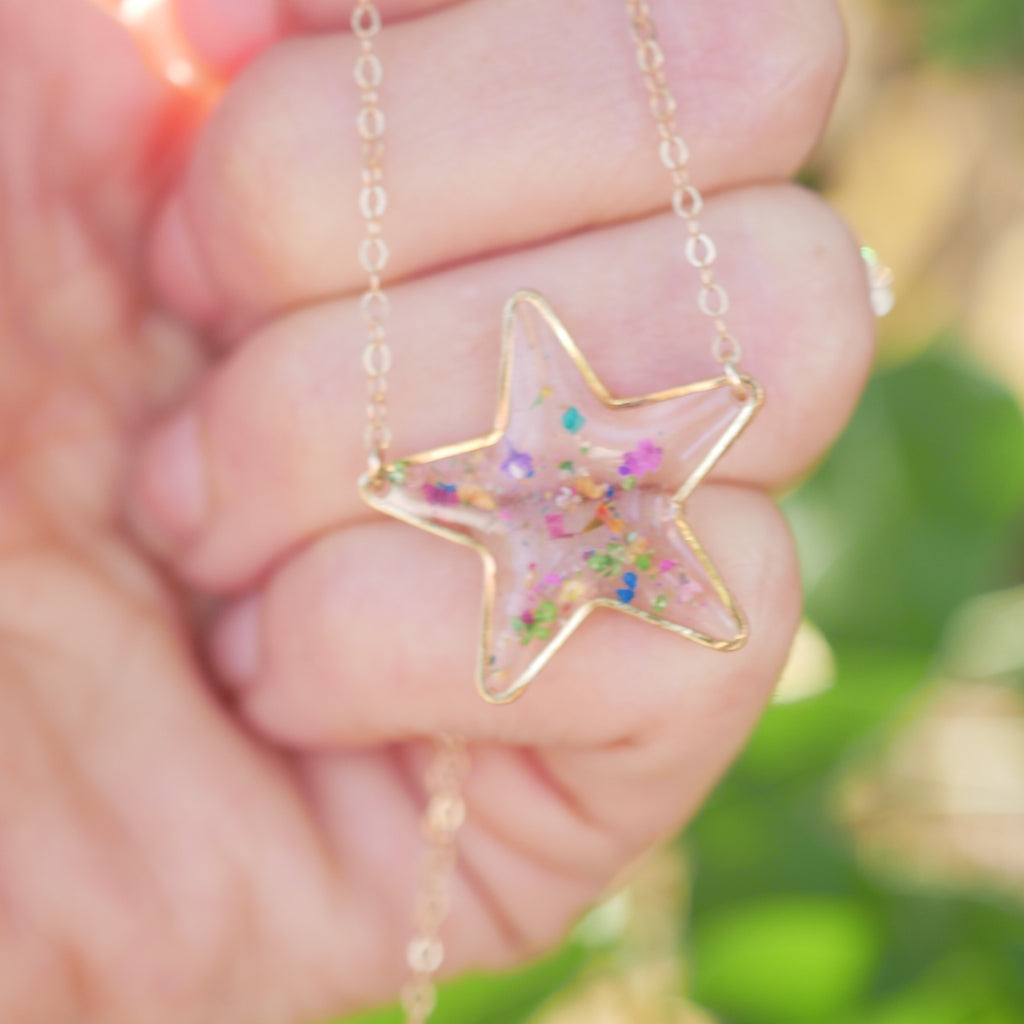 Pressed Flower Confetti Star Necklace
