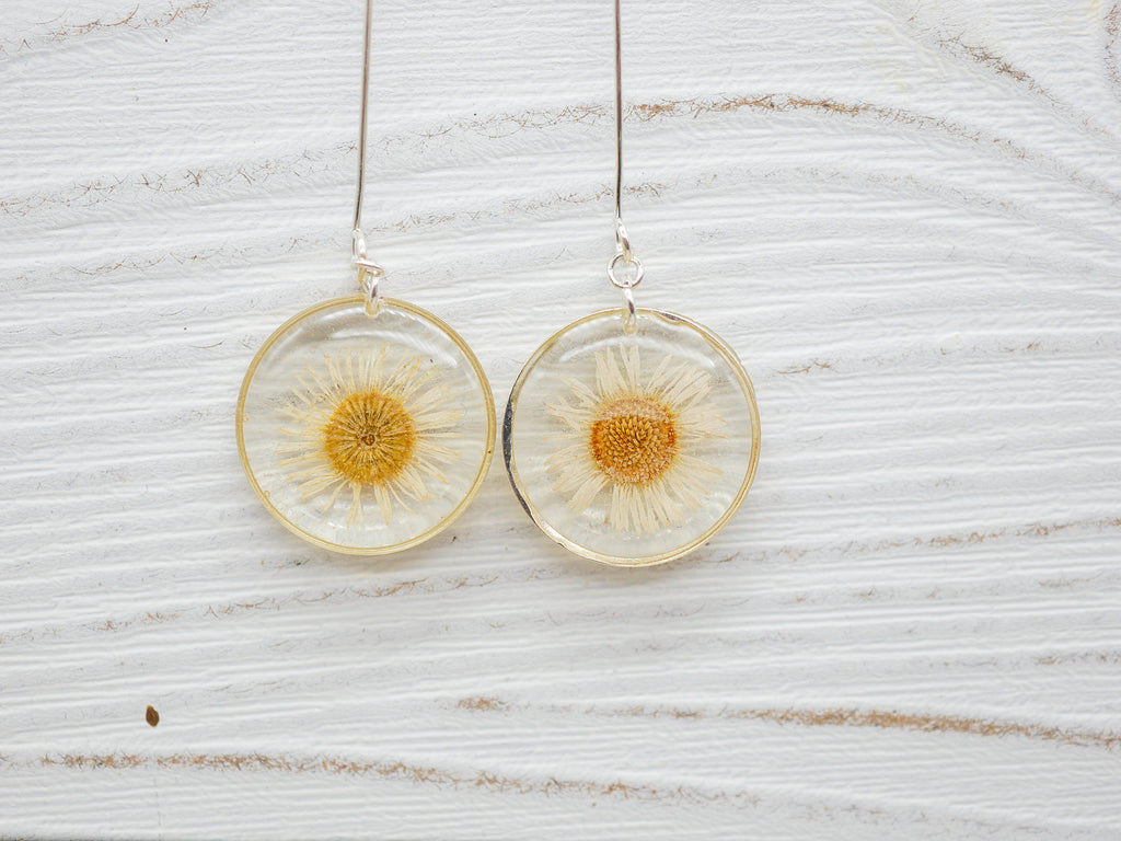 White English Daisy long dangle earrings