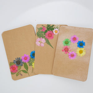 Pack of 3 Pressed Flower Greeting Cards