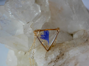 Dainty Cornflower triangle necklace