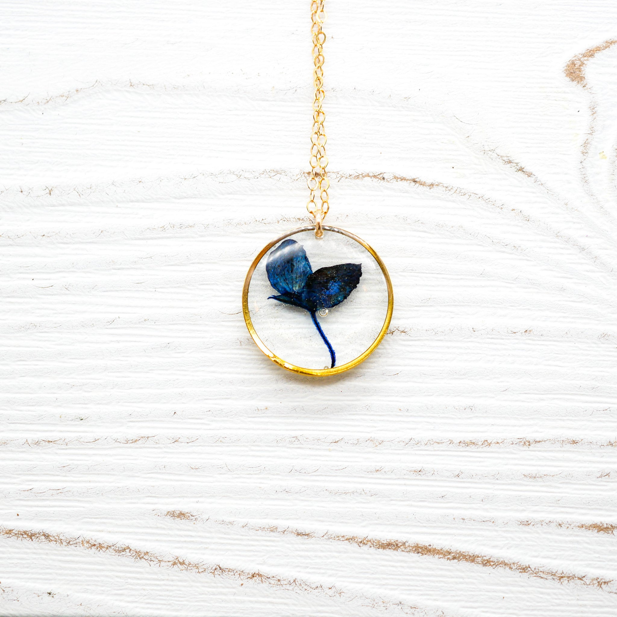 Pressed Texas Bluebonnet circle necklace
