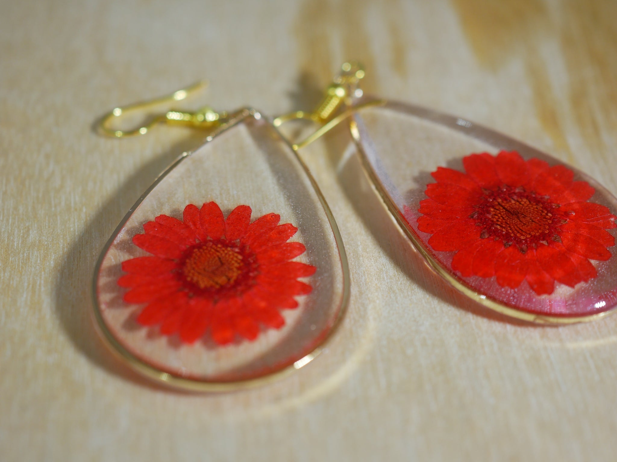 Red flower teardrop earrings