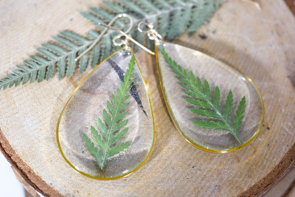 Large Fern Teardrop earrings