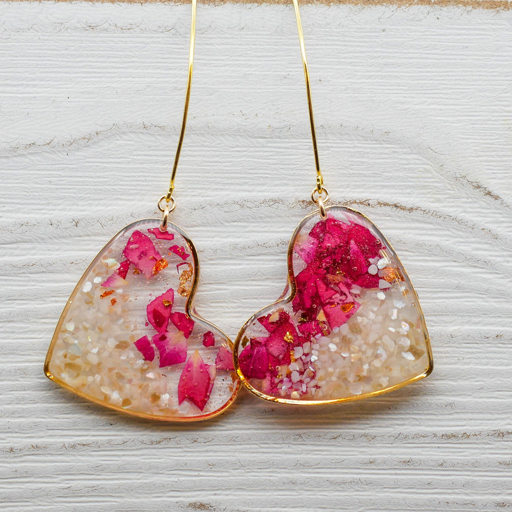 Eros Drop Earrings, Pressed Rose and Crushed Fresh Water Pearl Heart Earrings