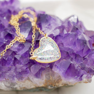 Crushed Opal heart Necklace