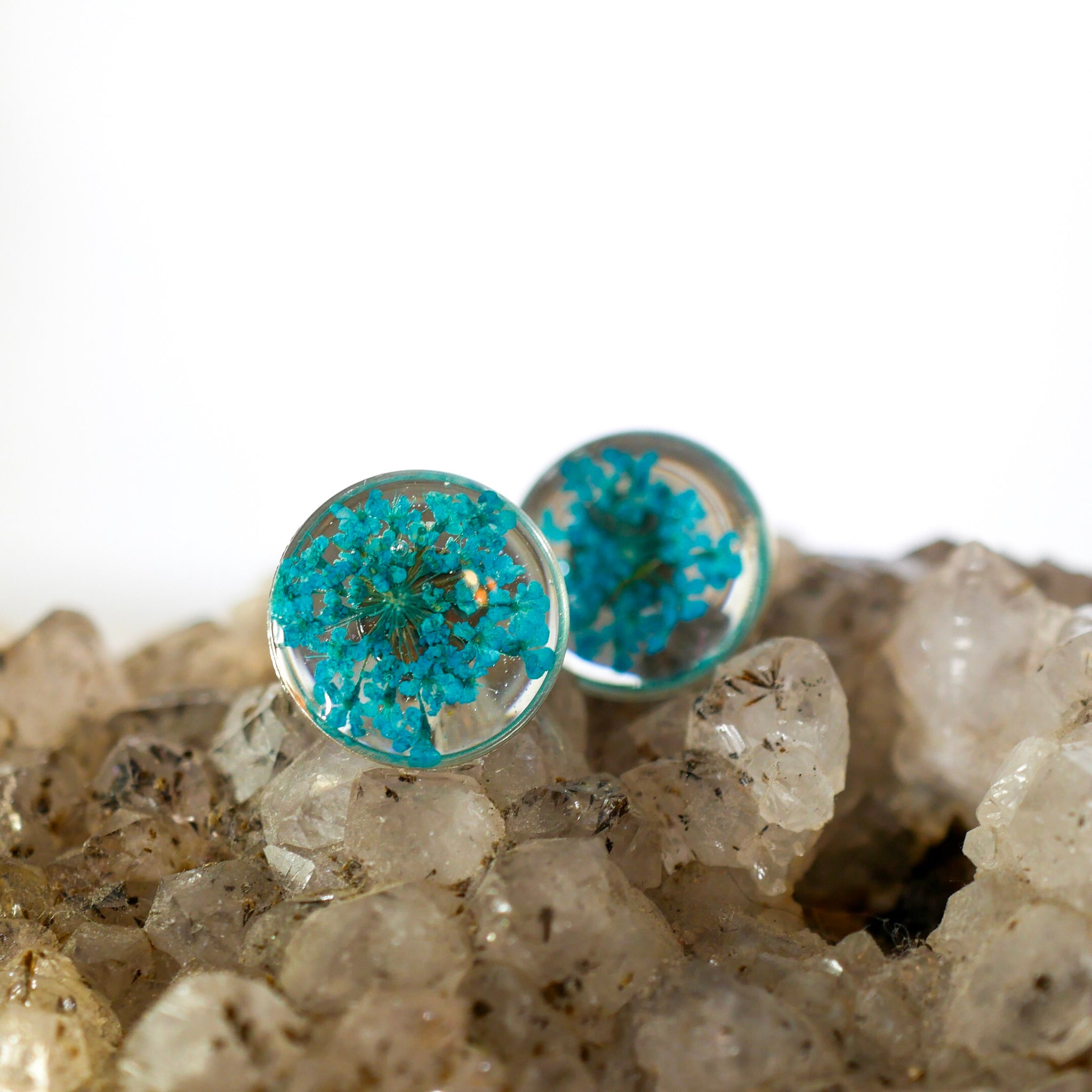 Blue Queen Annes Lace Studs
