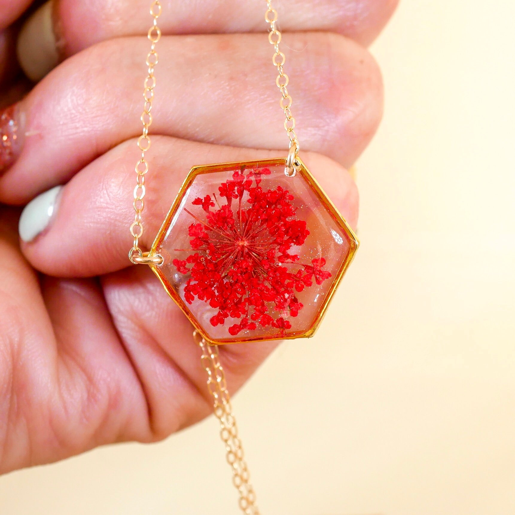 Red Queen Anne's lace Hexagon Necklace