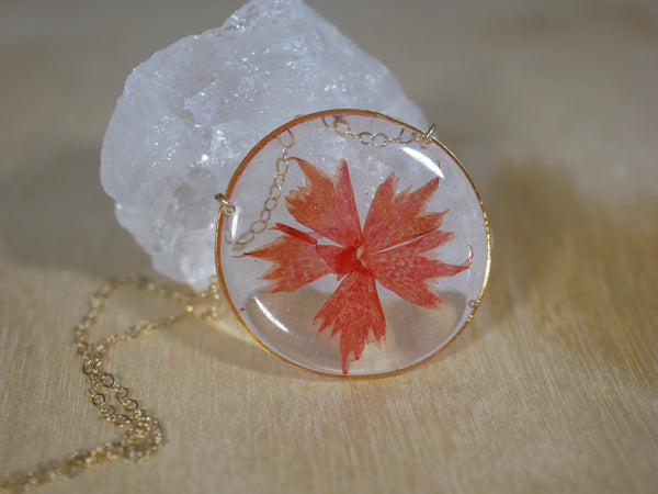 Red phlox flower necklace