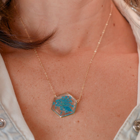 Blue Queen Annes lace Hexagon Necklace