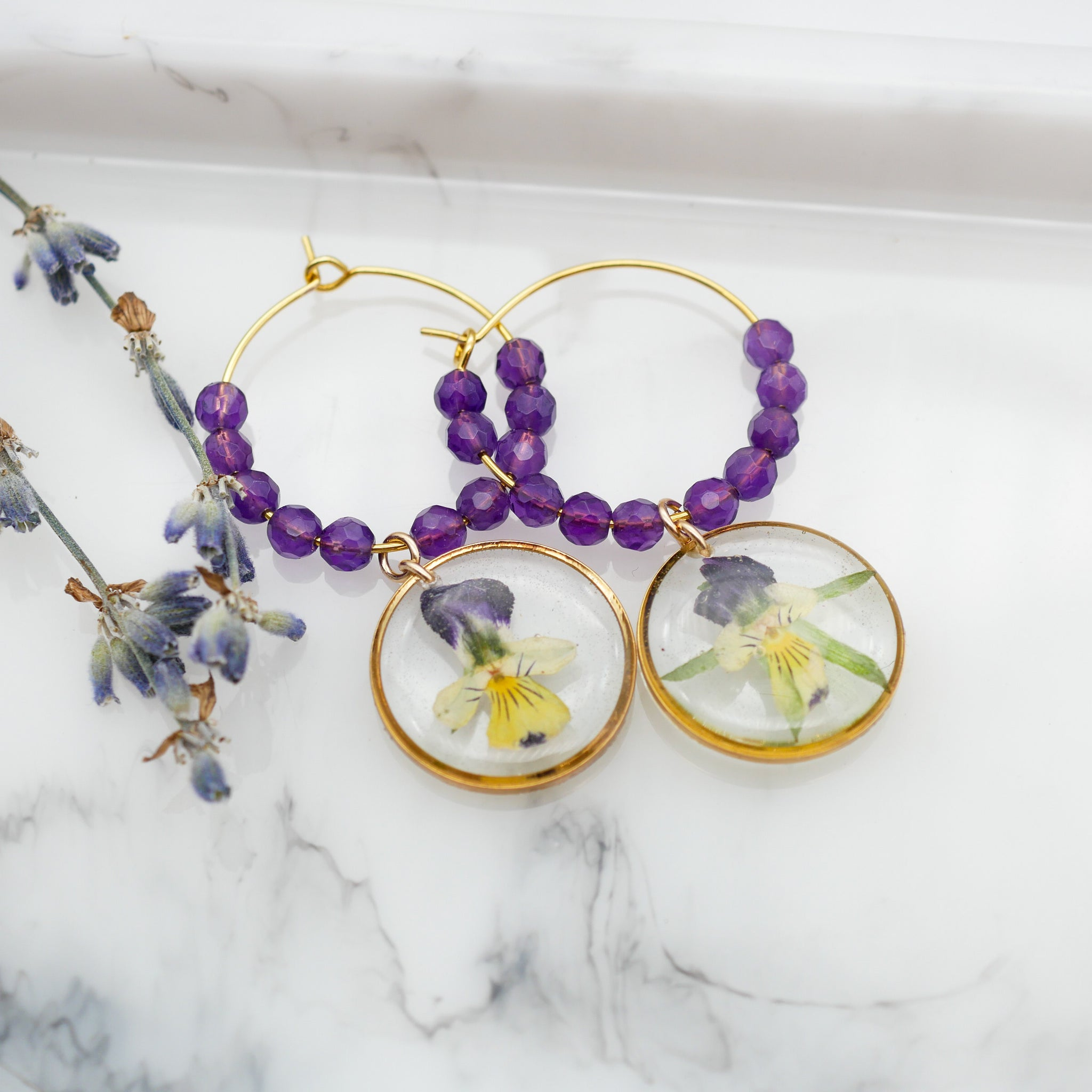 Pansy Hoop Earrings, Amethyst Hoop Earrings