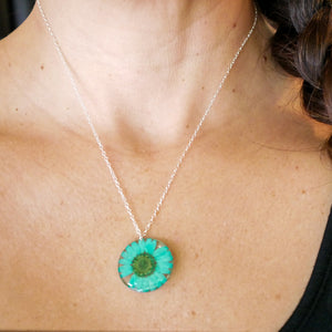 Pressed Blue daisy necklace