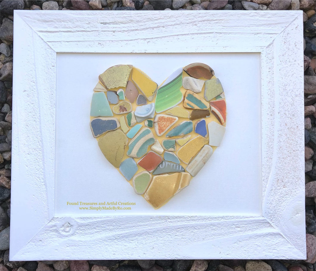 "Sea Heart 8""x10"" white frame **made to order**"