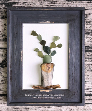 Potted Cactus gray 5x7
