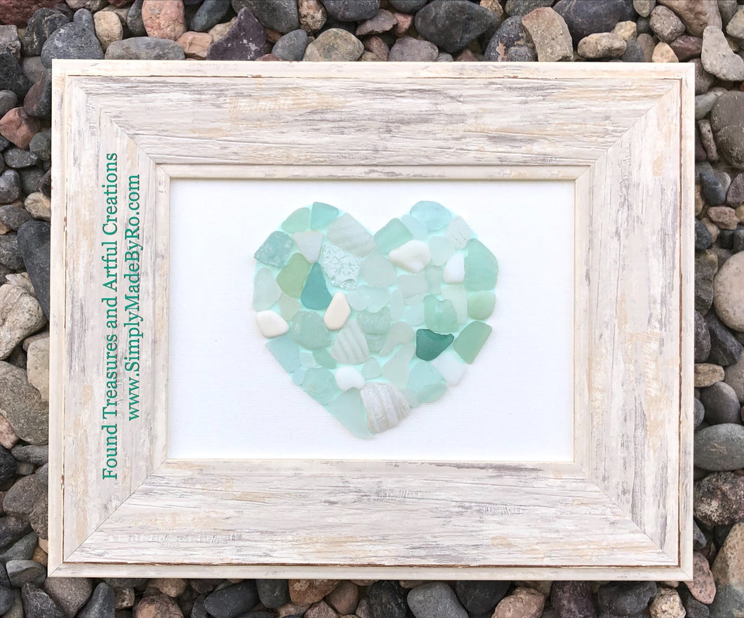 Sea Glass Heart  blue-green