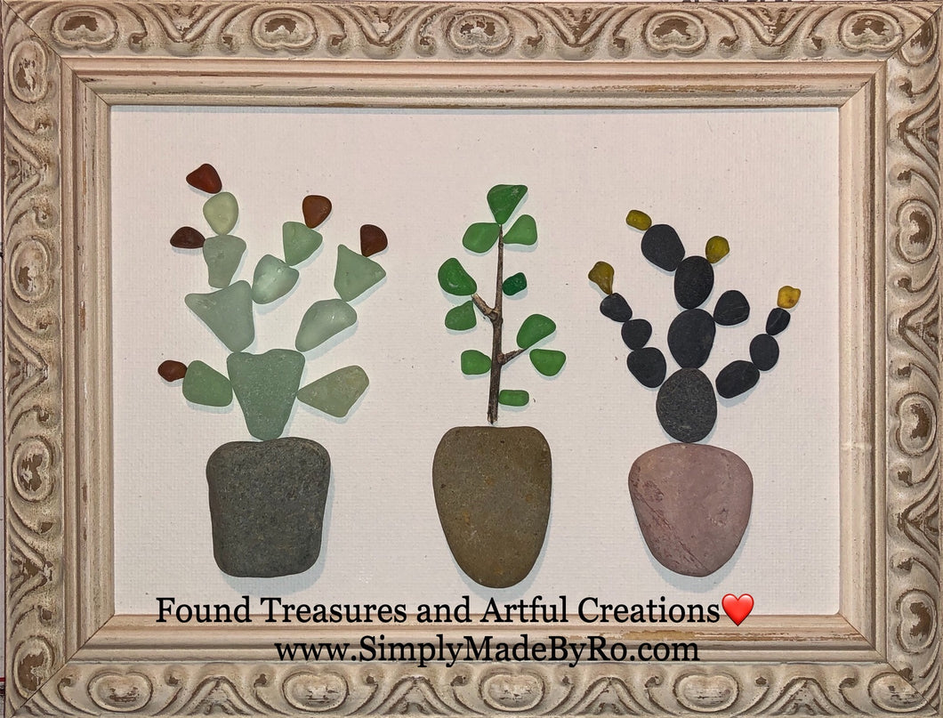 Cactus in Pots **custom made to order** 5x7 pebble pots