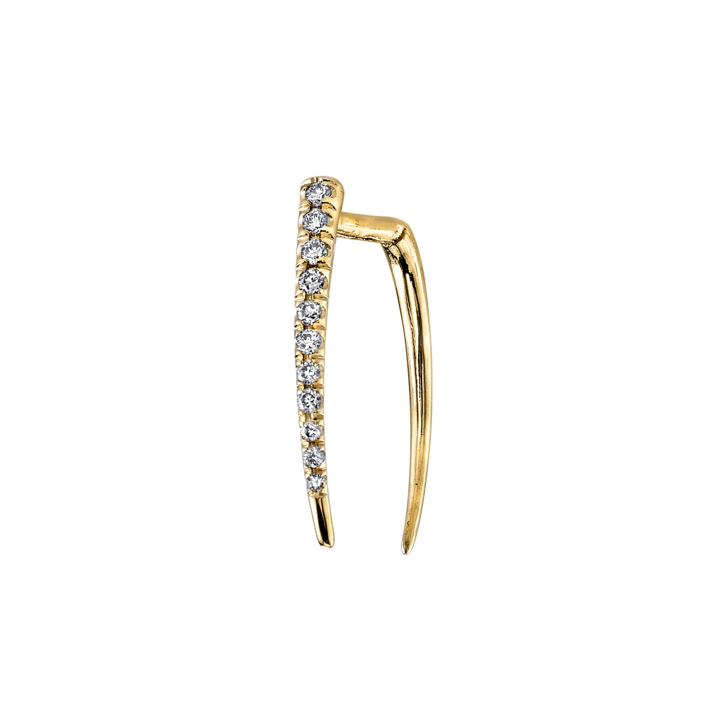 Classic Infinite Tusk Earring With White Pavé Diamonds - Gabriela Artigas