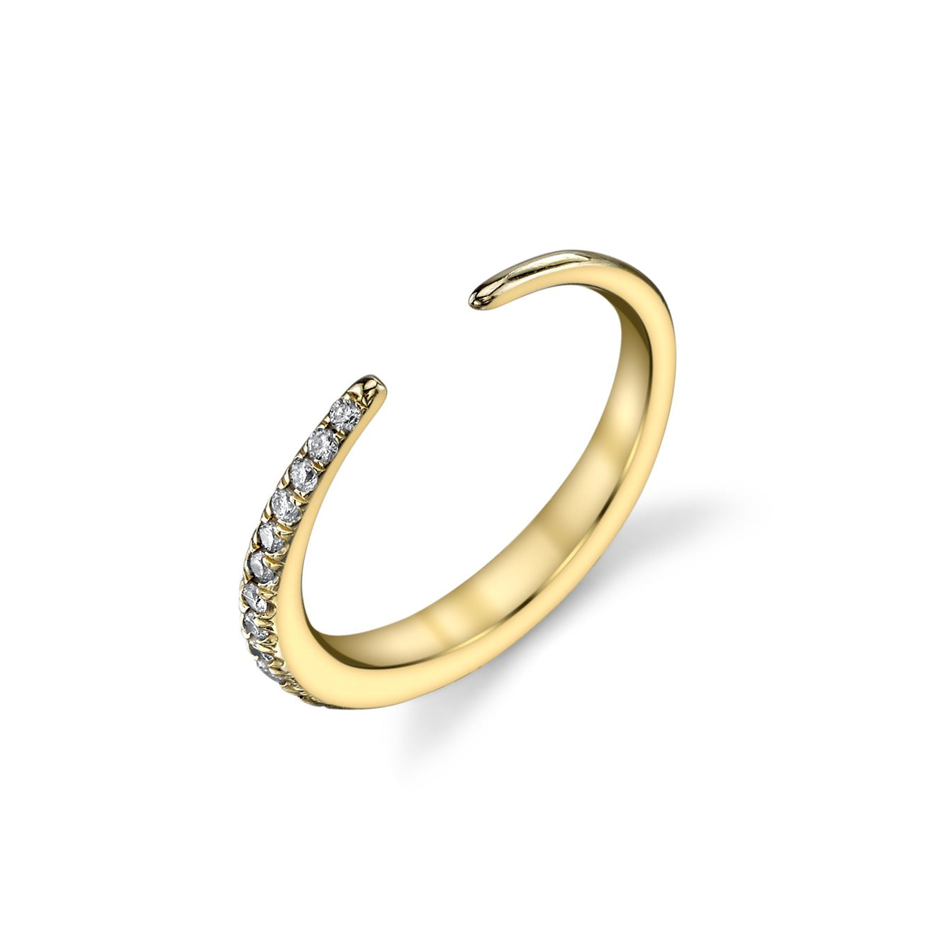 Infinite Tusk Ring With Half White Pavé Diamonds - Gabriela Artigas