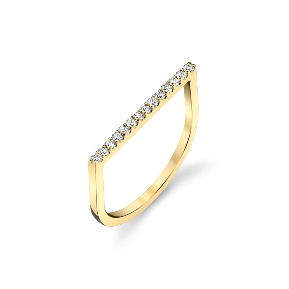 Flat Axis Ring With White Pavé Diamonds - Gabriela Artigas