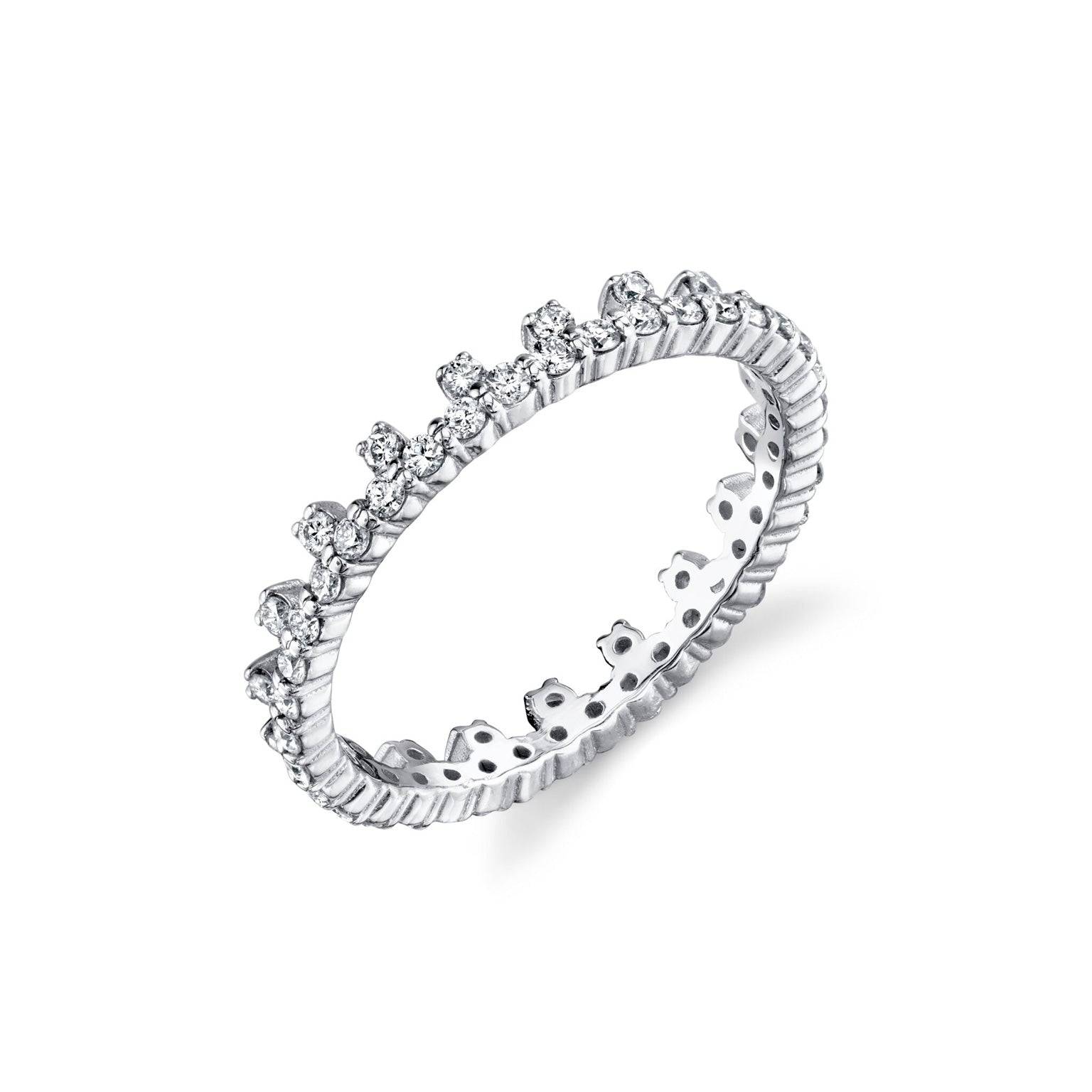 End Bolt Ring With White Pavé