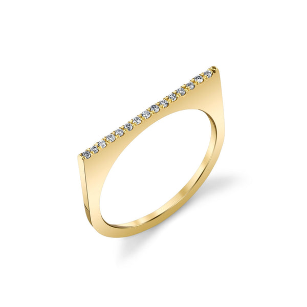 Line Ring with Pave Diamonds