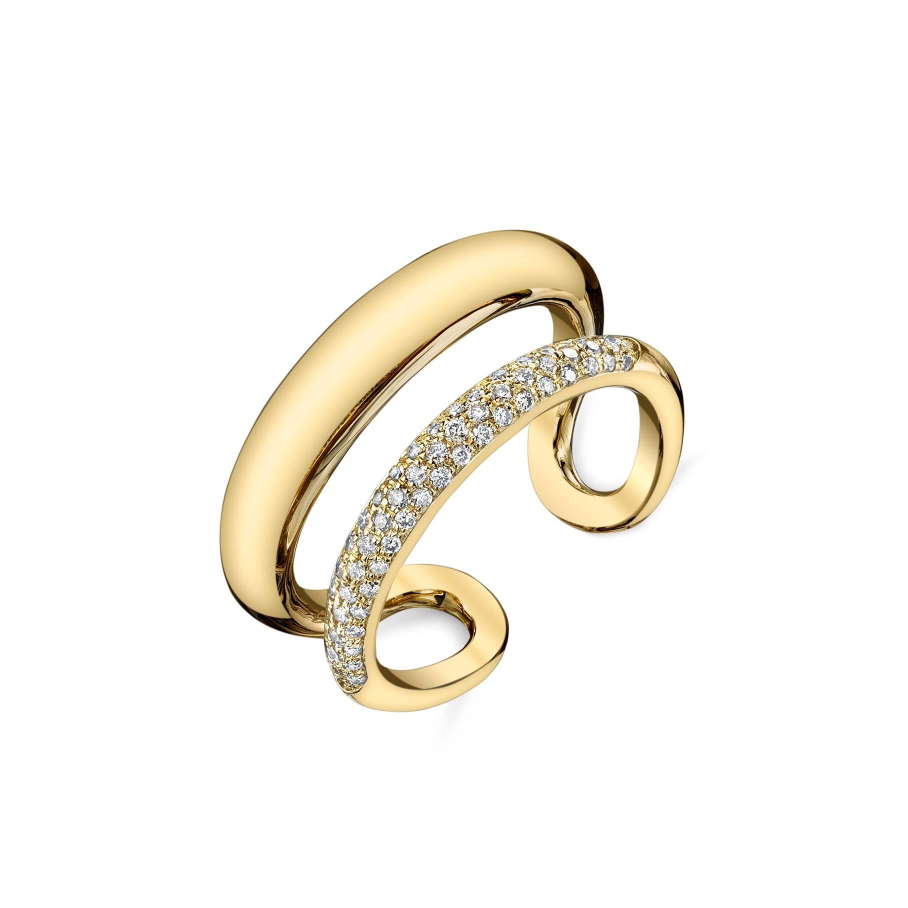 Twin Tusk Ring With Half White Pavé - Gabriela Artigas