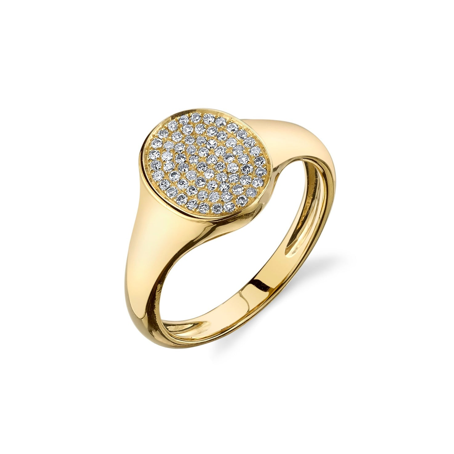 Disc Signet Ring With White Pavé