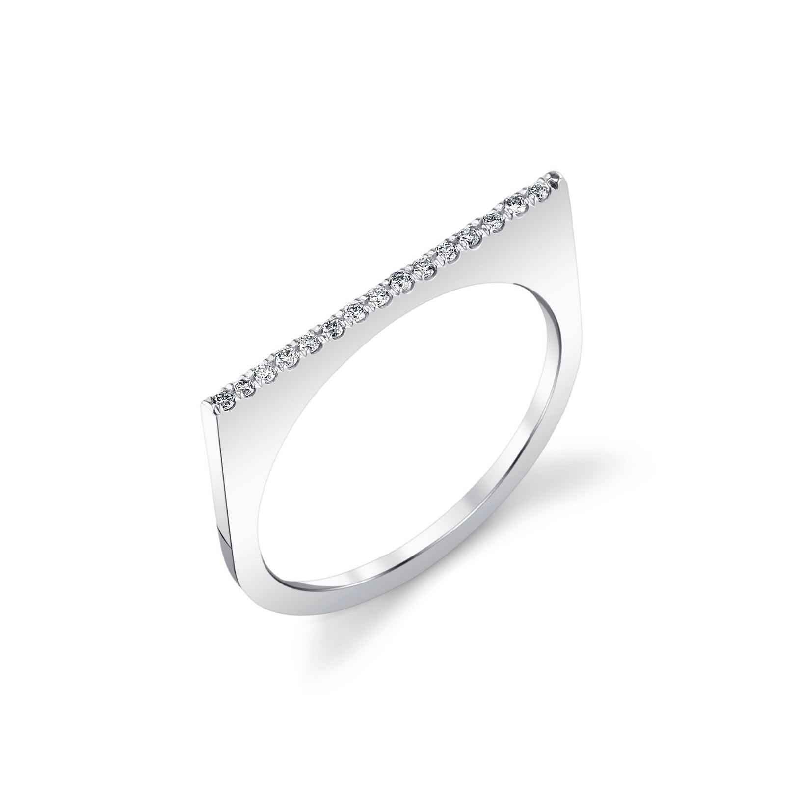 Line Ring With White Pavé