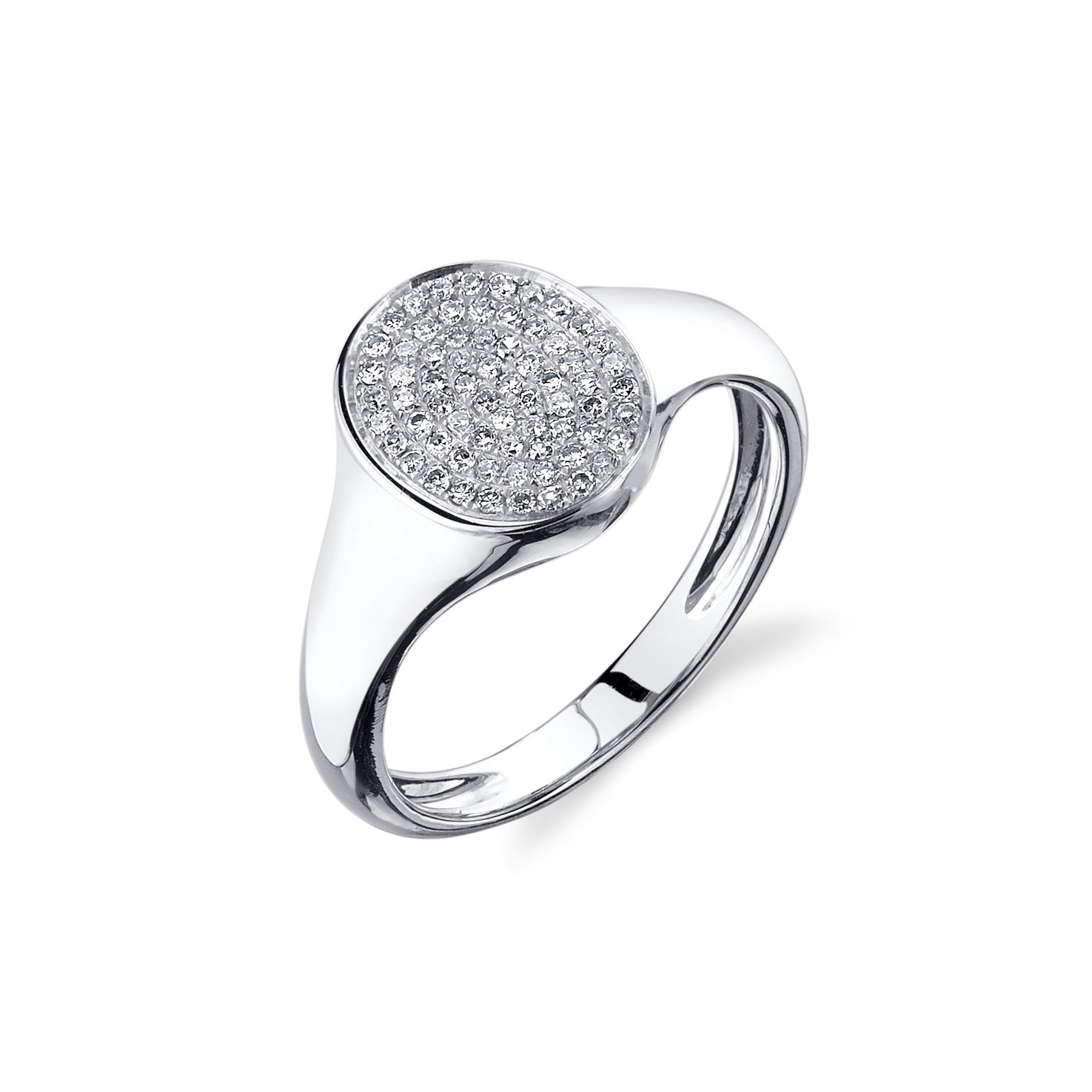 Disc Signet Ring With White Pavé Diamonds - Gabriela Artigas