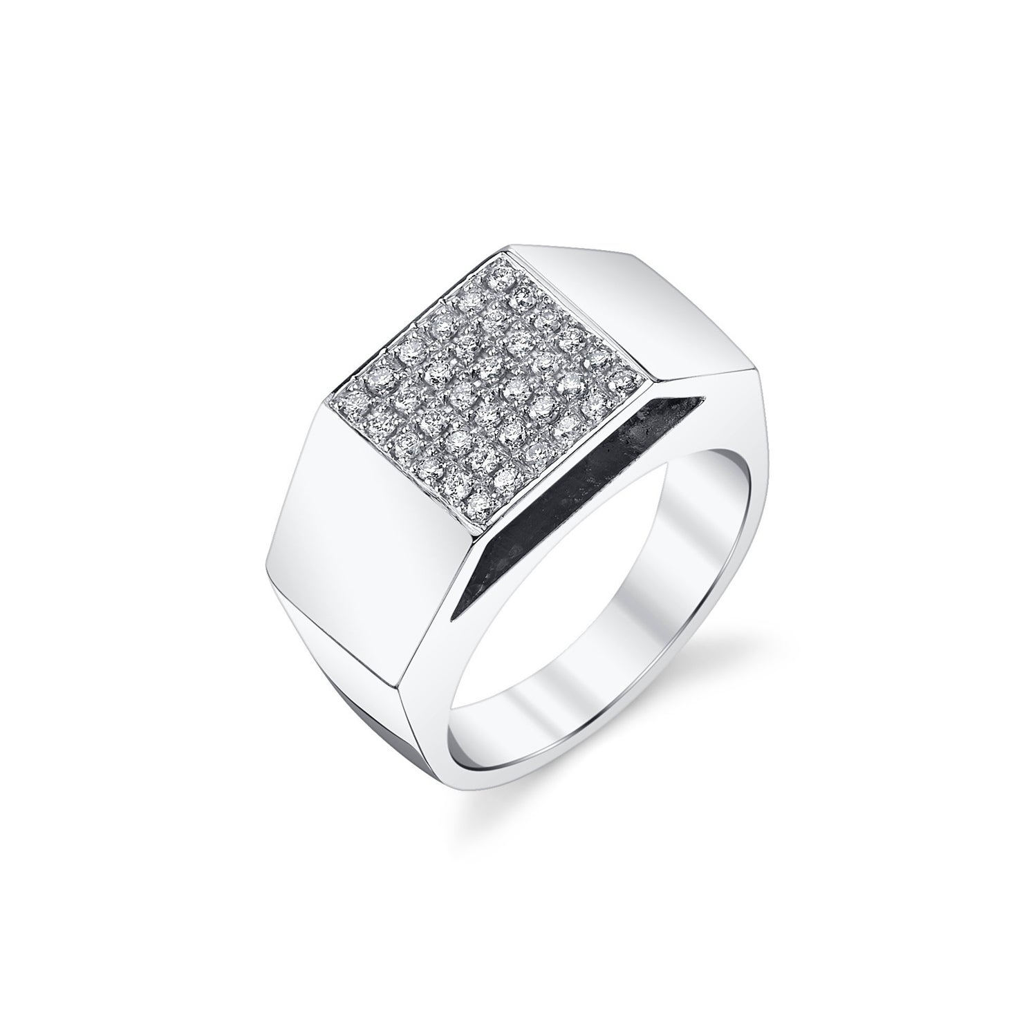 Cut Out Pedestal Ring With White Pavé Diamonds - Gabriela Artigas