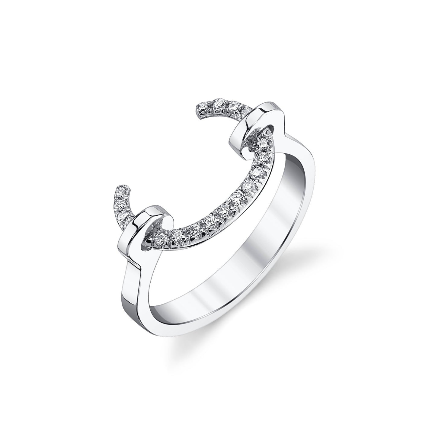 Reloaded Tusk Ring With White Pavé Diamonds - Gabriela Artigas