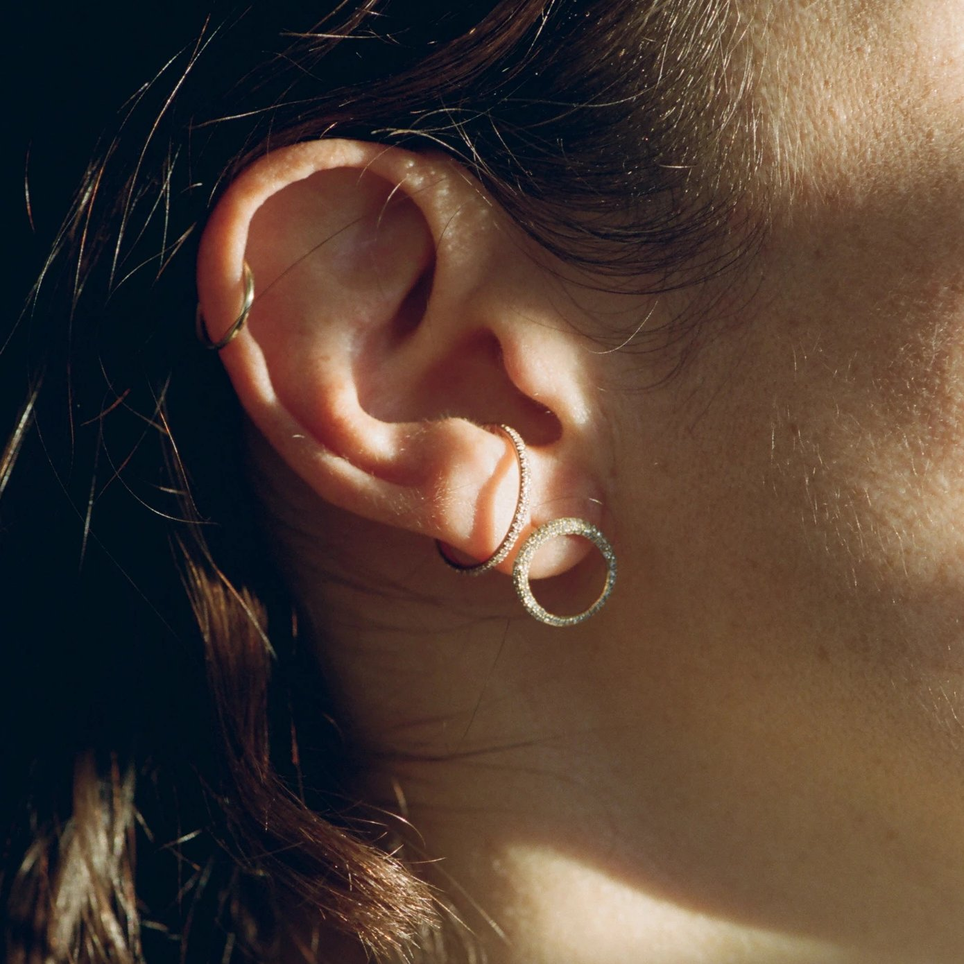 Disc Ear Cuff With White Pavé